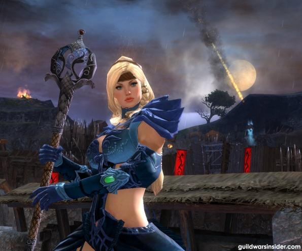 Egy Norn Scholar Armorban a Battle of Khylo mapon. A háttérben éppen egy hajítógépből kilőtt kő hullik alá...